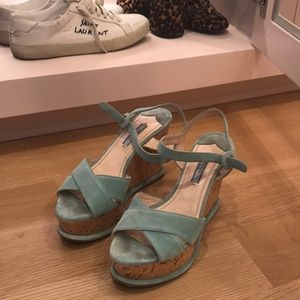PRADA suede wedges sz 38 authentic